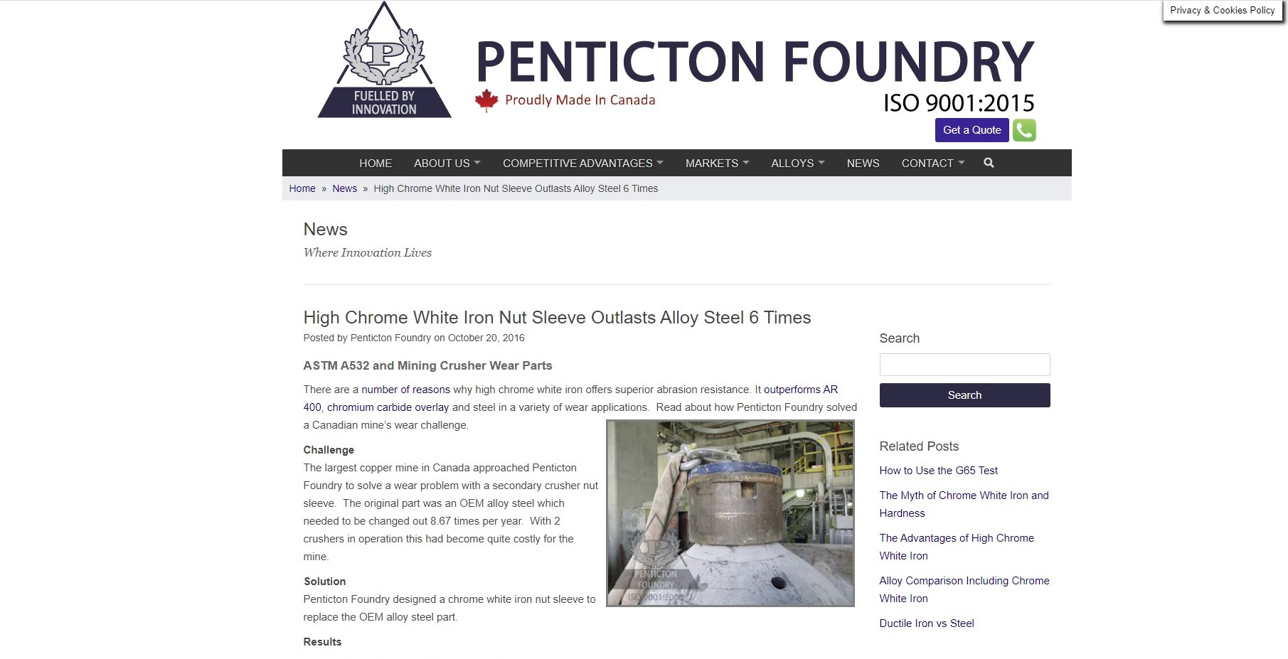 https://www.pentictonfoundry.com/news/high-chrome-white-iron-nut-sleeve-outlasts-alloy-steel-6-times/